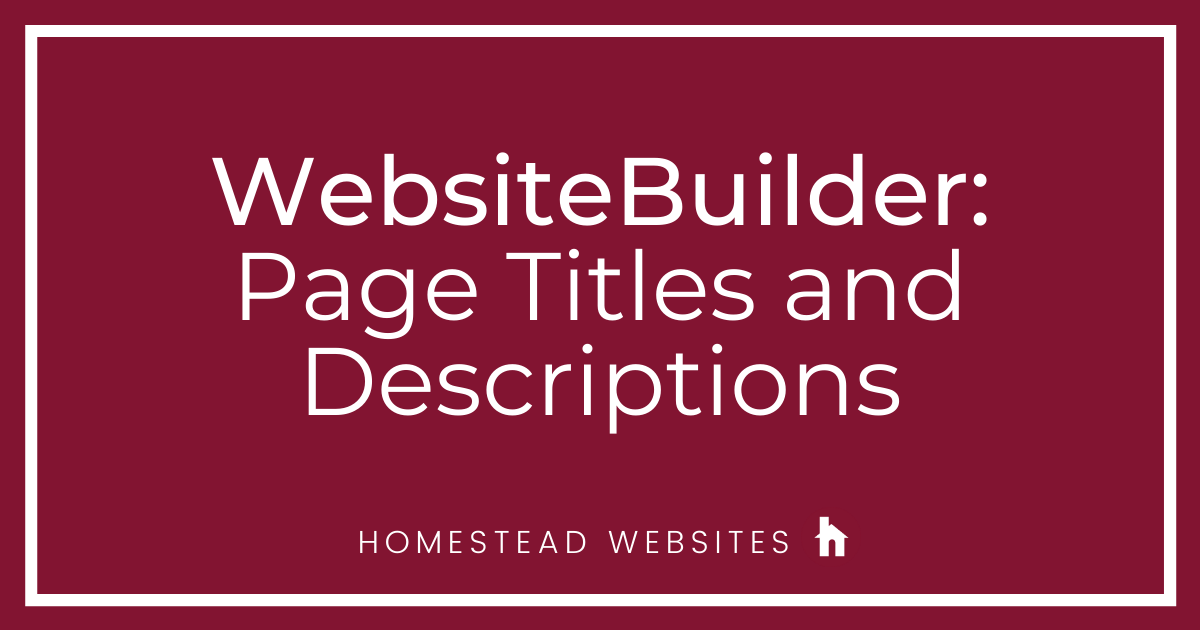 WebsiteBuilder: Page Titles and Descriptions