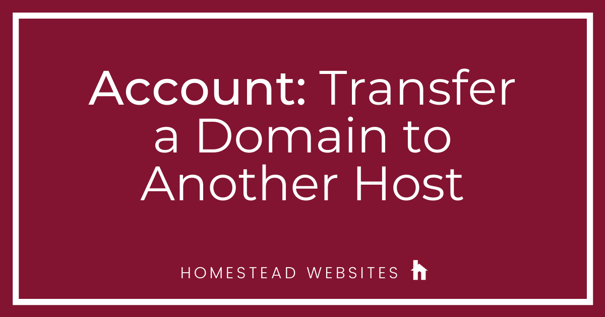 Account: Transfer a Domain to Another Host