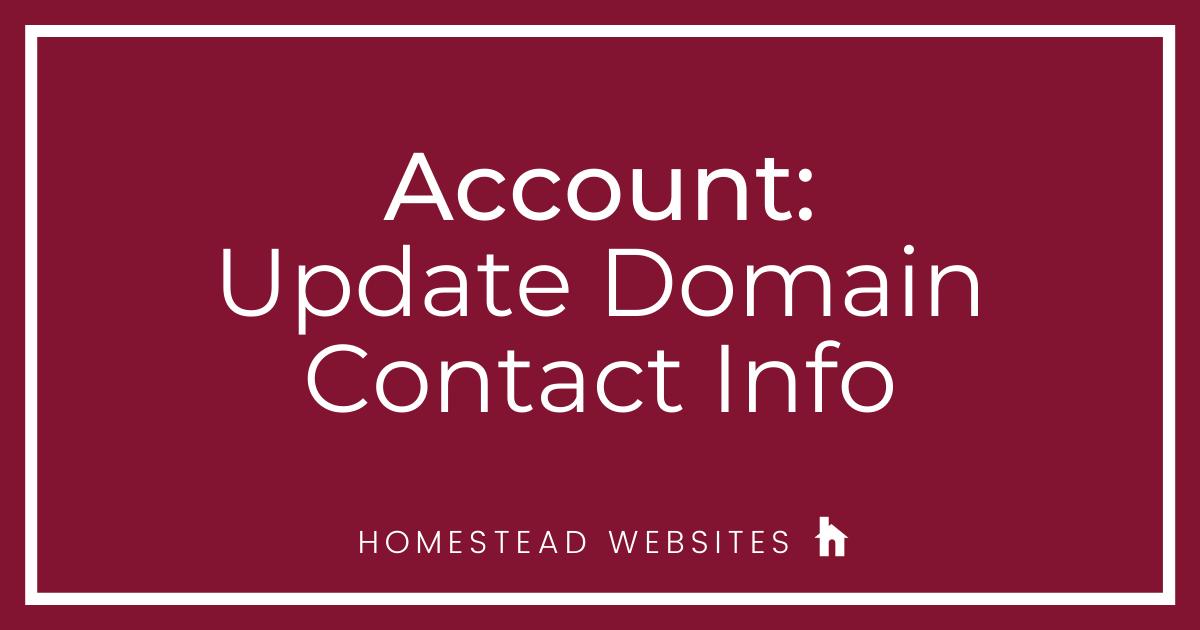 Account: Update Contact Info