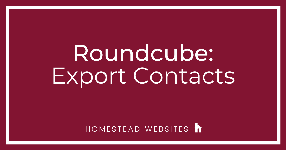 Roundcube: Export Contacts