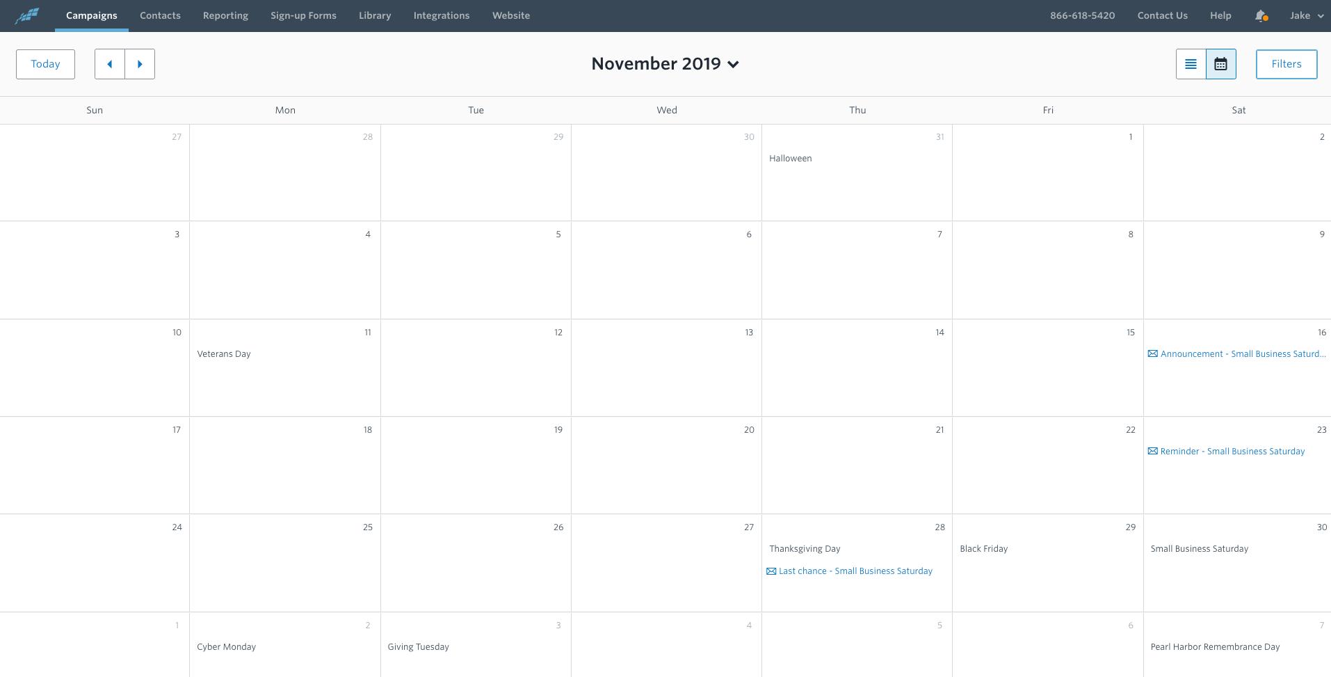 November 2019 email calendar