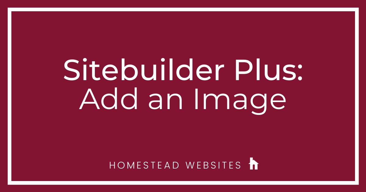 Sitebuilder Plus: Add an Image
