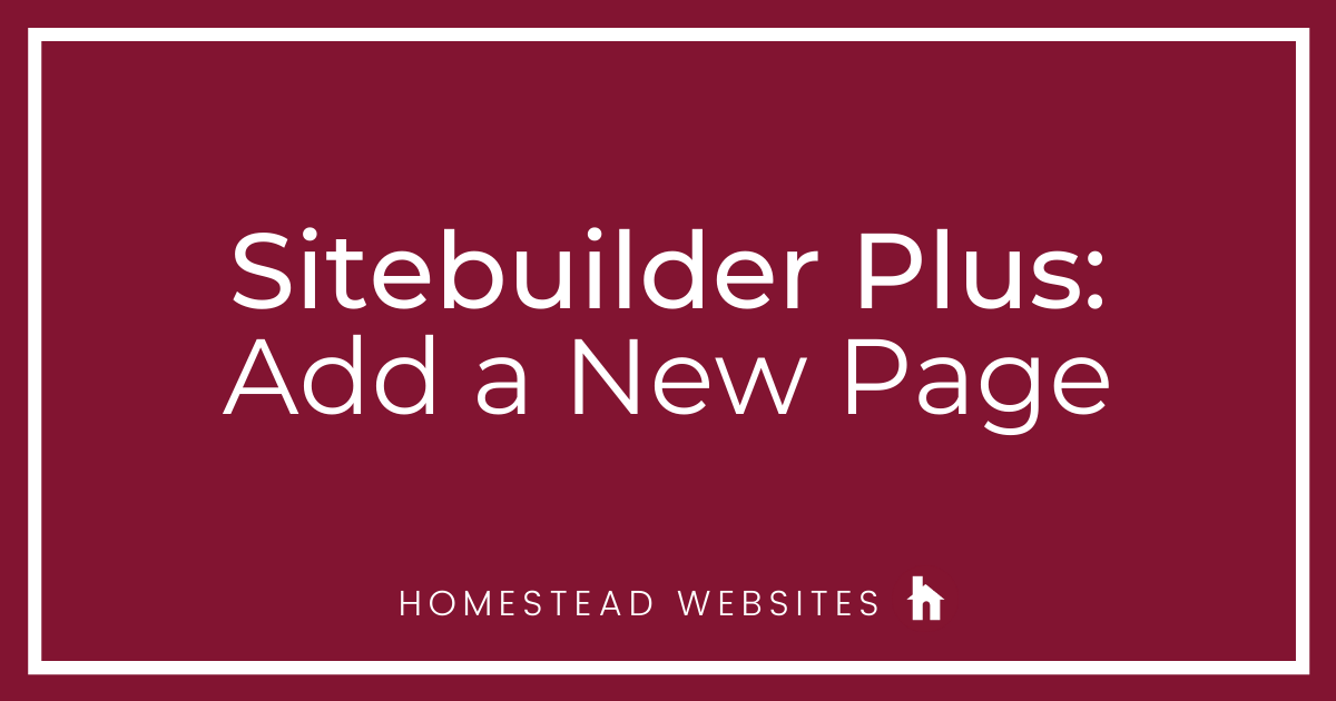 Sitebuilder Plus: Add a New Page