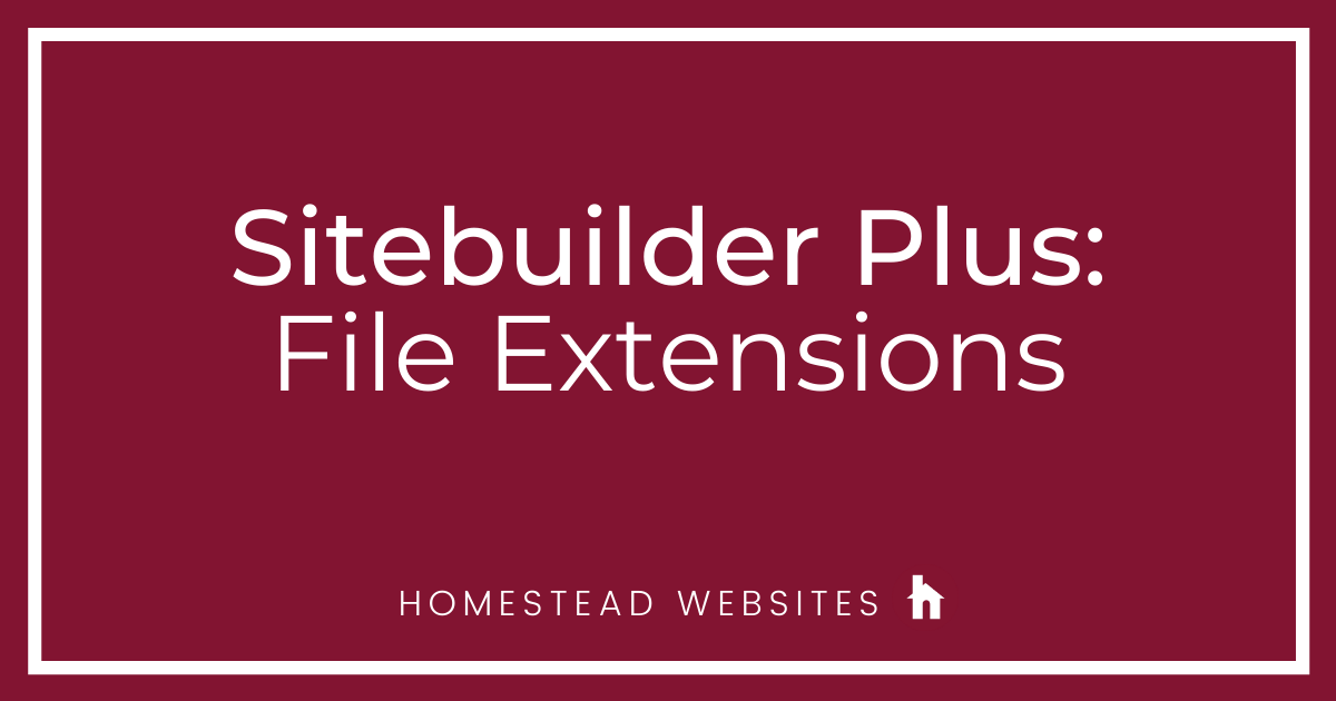 Sitebuilder Plus: File Extensions