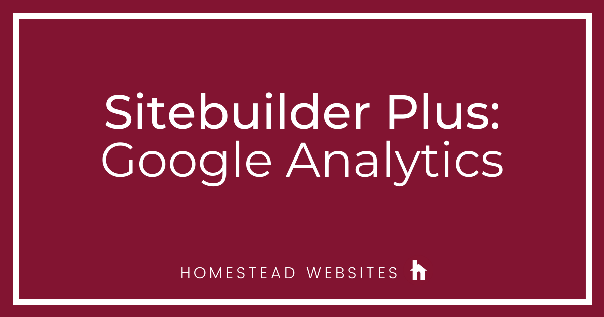 Sitebuilder Plus: Google Analytics
