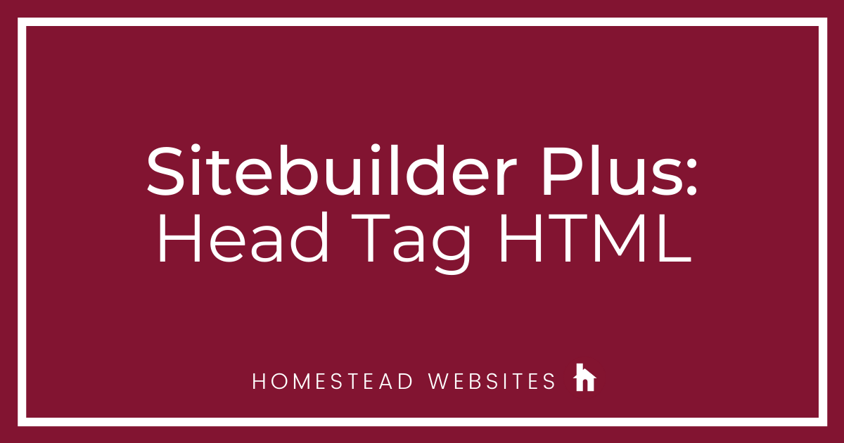 Sitebuilder Plus: Head Tag HTML