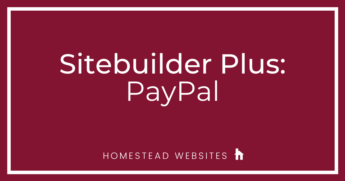 Sitebuilder Plus: PayPal