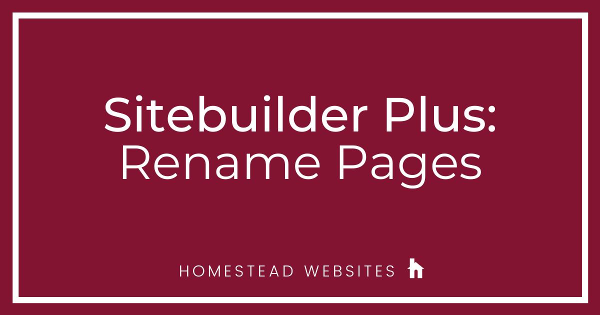 Sitebuilder Plus: Rename Pages