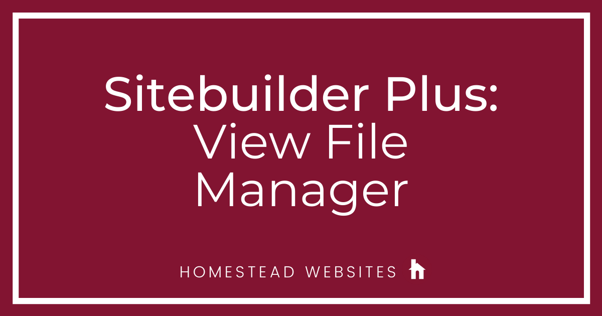 Sitebuilder Plus: View File Manager