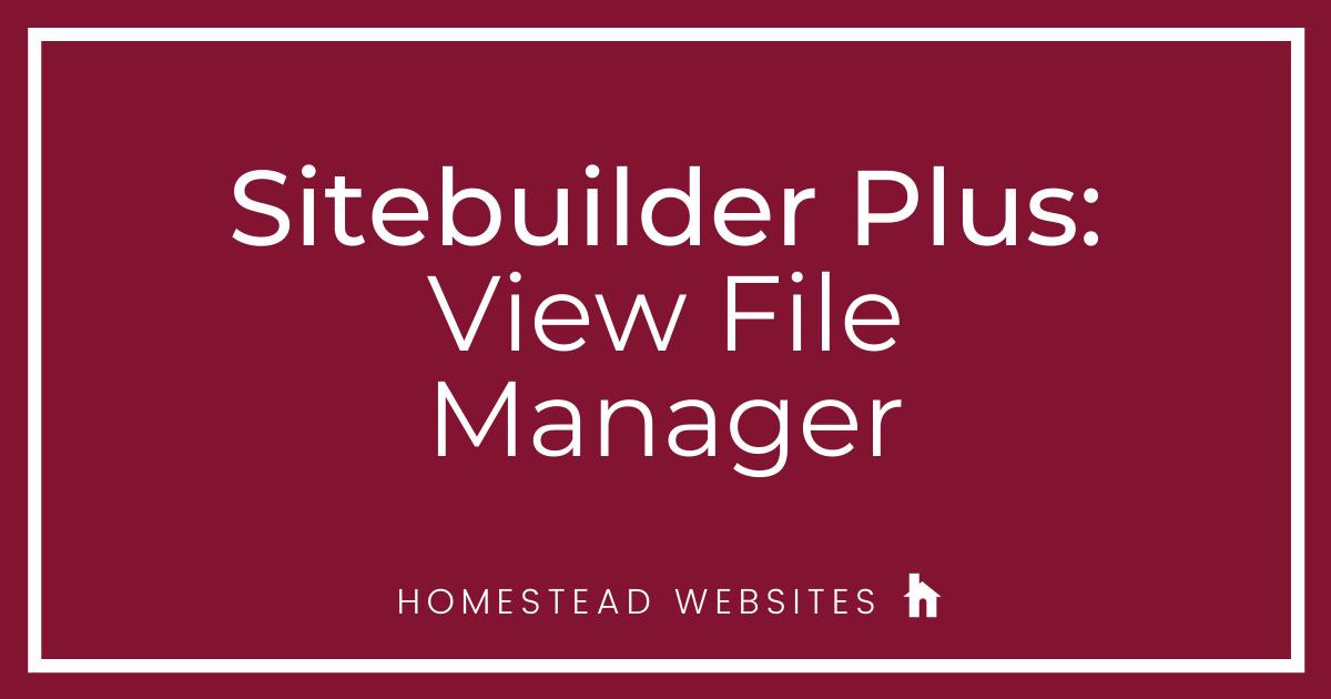 Sitebuilder Plus: View File Manager