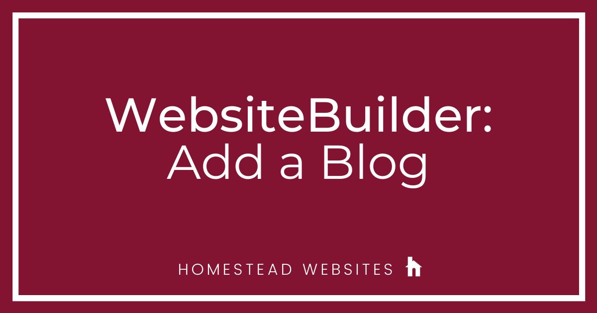 WebsiteBuilder: Add a Blog