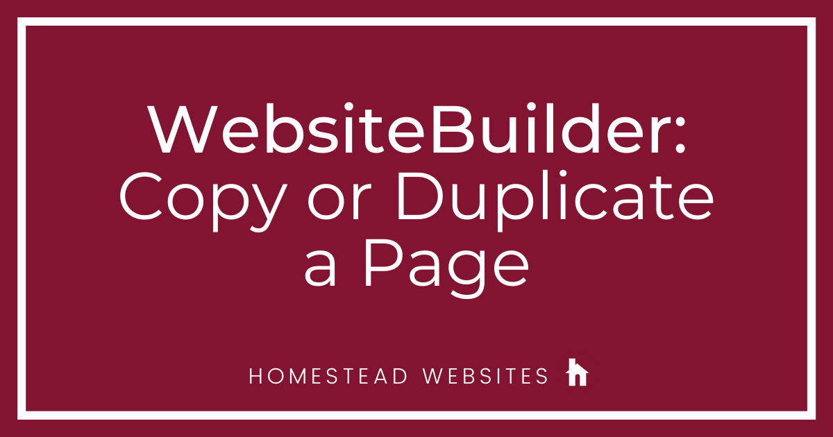 WebsiteBuilder: Copy or Duplicate a page