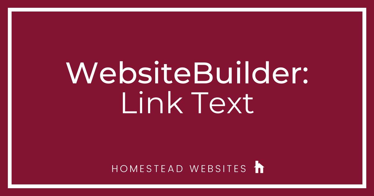 WebsiteBuilder: Link Text