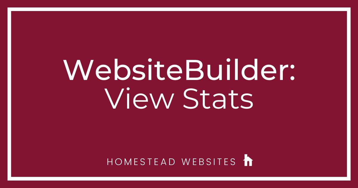 WebsiteBuilder: Where Can I View My Website Statistics?