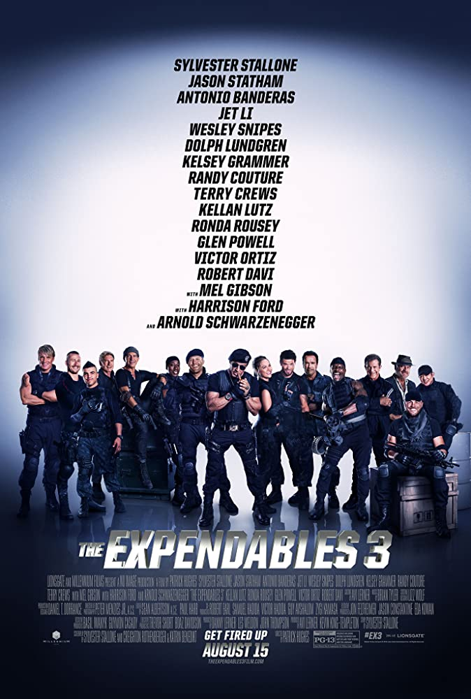 Antonio Banderas Harrison Ford Mel Gibson Dolph Lundgren Arnold Schwarzenegger Sylvester Stallone Wesley Snipes Kelsey Grammer Jet Li Jason Statham Terry Crews Randy Couture Glen Powell Kellan Lutz Ronda Rousey and Victor Ortiz in The Expendables 3 2014