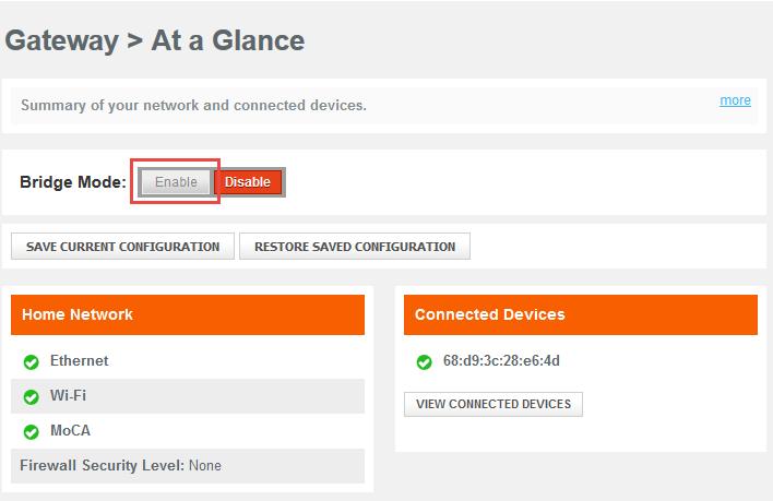 Enable Bridge Mode on Comcast Business Wireless Gateway