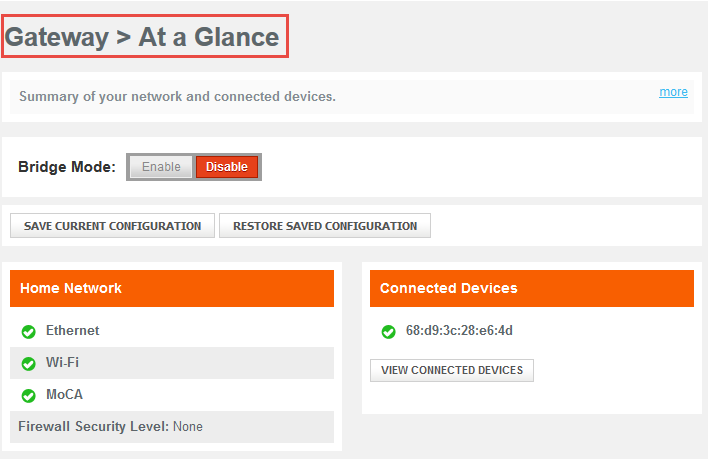 Gateway - At a Glance screen in Comcast Business Wireless Gateway