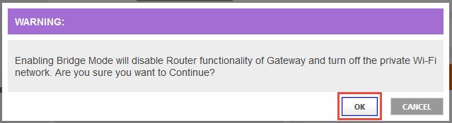 Confirm Bridge Mode screen on Comcast Business Wireless Gateway