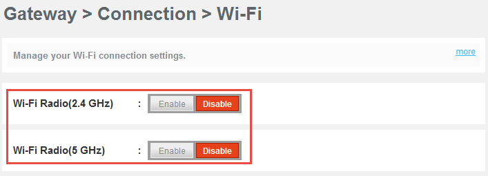 Disabling WiFi on Comcast Business Wireless Gateway