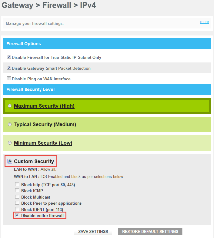 Firewall/Smart Packet Detection on Comcast Business Wireless Gateway