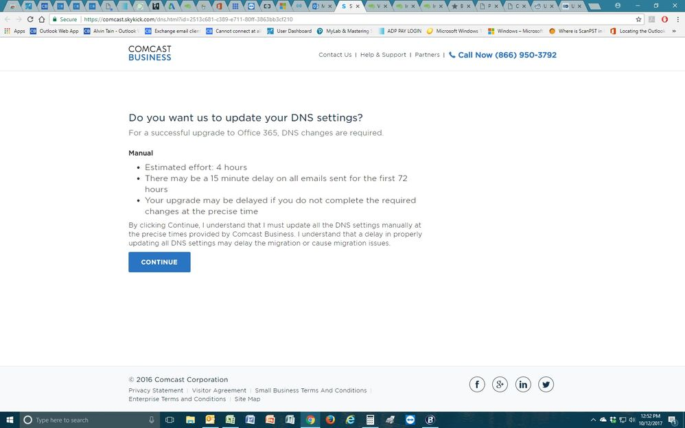 Comcast: Do you want us to update your DNS settings? (proceeds to offer only manual confirmation Button of Continue)