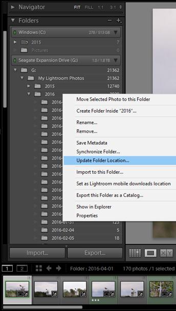 Lightroom find missing folder multiple