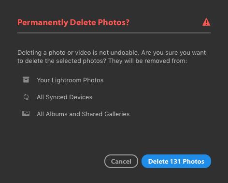 Delete rejected photos lightroom cc