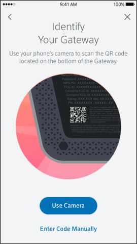 Your camera can scan the QR code to continue with the setup