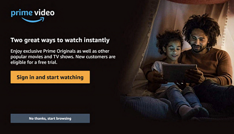 Sign in and start watching button once Prime Video is open