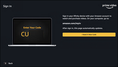 Sign in page with messaging and Code. I need a new code button at center right.