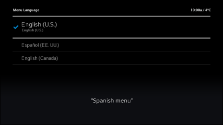 Language options screen. Espanol option is second on the list.