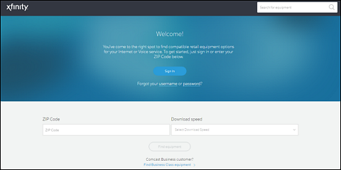 Welcome screen with fields for Zip Code and Download speeds.