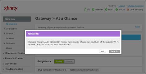 Warning dialog box informing user about Enabling Bridge mode