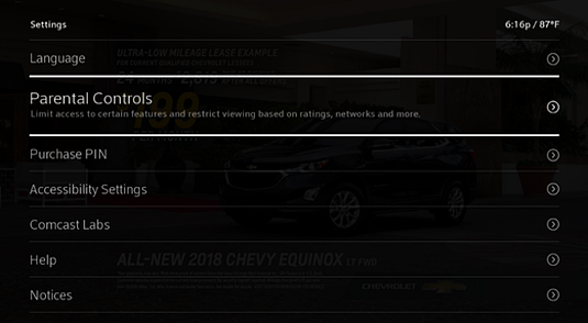 Settings screen with the Parental Controls option highlighted.