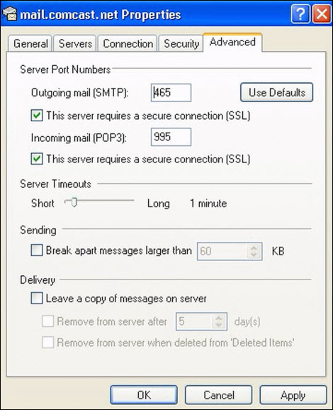 Outlook Express email settings.