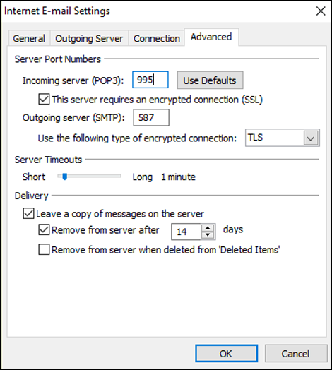 Outlook Email settings box