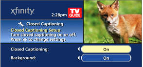 Closed Captioning and Background Options display.  Both options are toggled to the On setting.