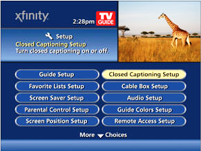 Main menu screen. Closed Captioning Setup is the first option in the right-hand row.