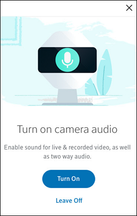 Turn on camera audio screen with Turn On button on top and Leave off button on bottom