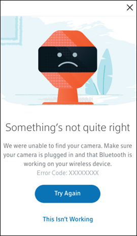 Error message screen saying Something's not quite right