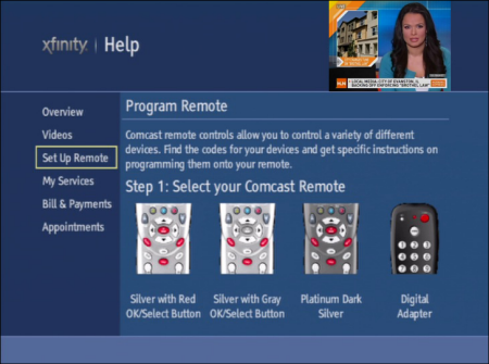 """On the XFINITY Help screen, the Set Up Remote option is selected on the left side of the screen. Details on how to """"Program Remote"""" are listed on the right side of the screen. Step 1: Select your Comcast Remote is displayed."""