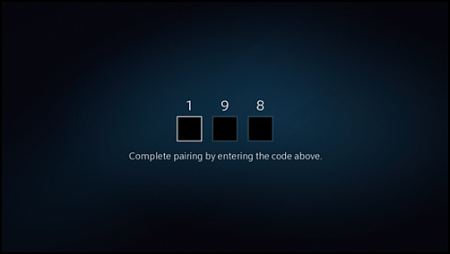 Spaces for entering the three-digit pairing code.