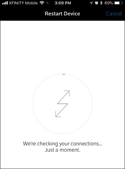 Restart Device screen.