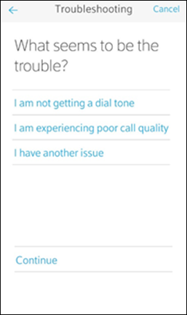 Troubleshooting screen with on-screen messaging: 'What seems to be the trouble?'; and three options beneath it.