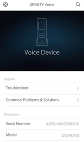 The My Account app Voice home screen with Common Problems & Solutions in the middle.