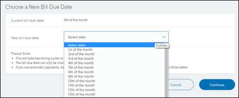 Drop down with list of dates to choose from.