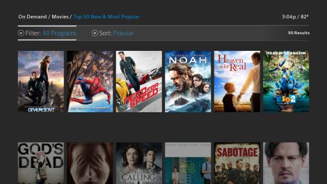 The On Demand guide screen: The Filter, in the upper left, is selected to All Programs and to the right of that is Sort, which is selected to Popular. Below that is a scrolling list of movies.