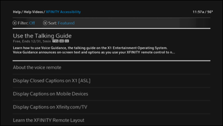 The XFINITY Accessibility page with various options listed.