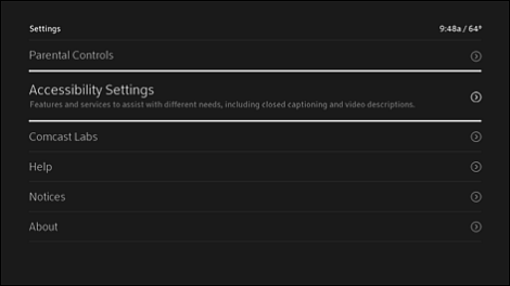 Settings screen with Accessibility Settings highlighted.