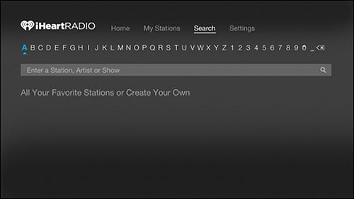iHeartRadio Search screen.